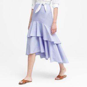 BANANA REPUBLIC Pale Blue High Low Midi Skirt 6